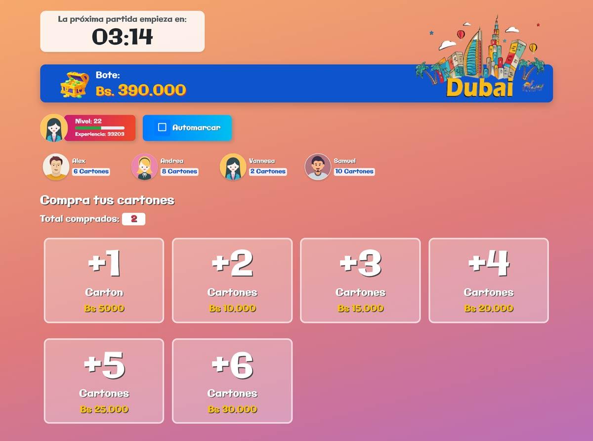 Comprar cartones en Bingo Activo